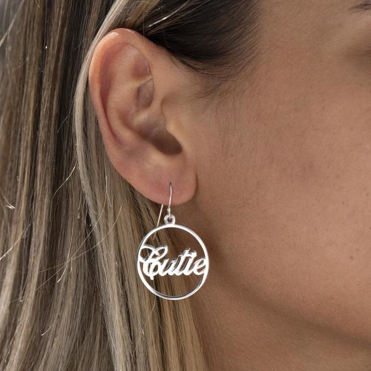 Name Hoop Earrings - Model