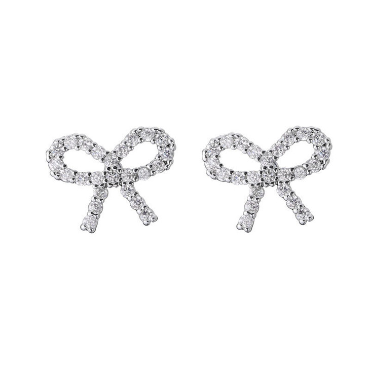 Cubic Zirconia Bow Earrings - Picture 2