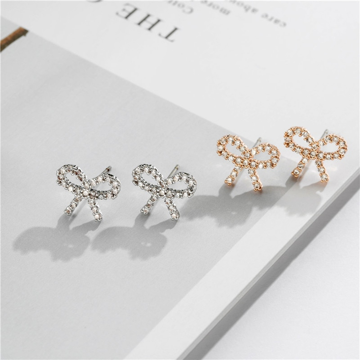 Cubic Zirconia Bow Earrings - Picture 4