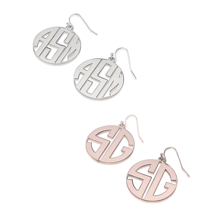 grande monogrammed sterling monogram be silver cutout products earrings