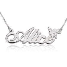 14k White Gold Alegro Name Necklace with Angel