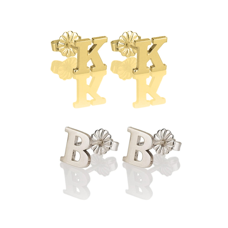 gold initial listing il stud earring english old letter
