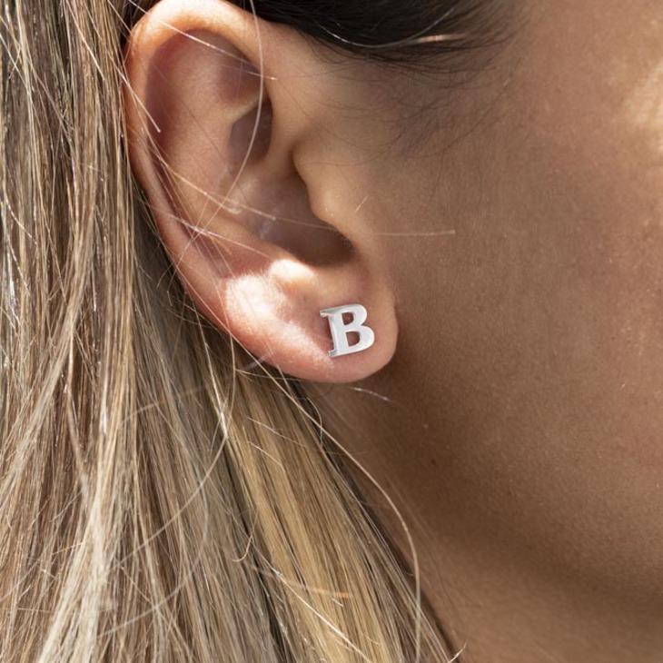 Letter Stud Earrings - Model