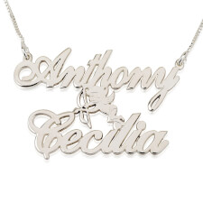14k White Gold Two Alegro Name Necklaces with Cupid