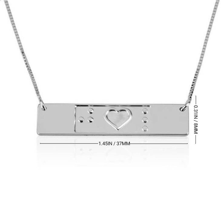Engraved Friendship Bar Braille Necklace - Information
