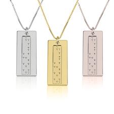 Collier Barre Verticale Gravure Braille