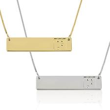 Collier Barre Gravure Braille