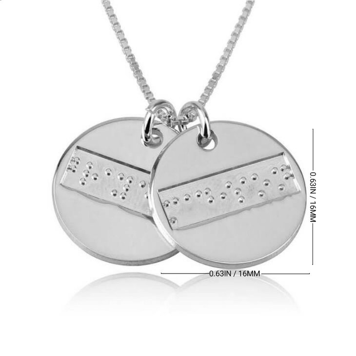Two Discs Braille Letters Necklace - Information