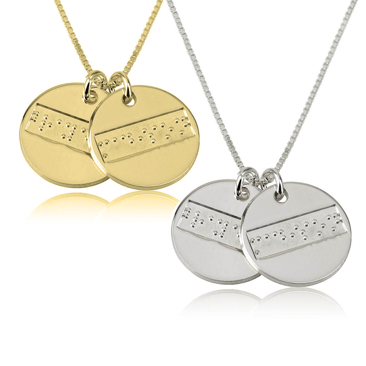 Two Discs Braille Letters Necklace
