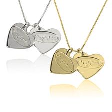 Collier d'Amour 2 Cœurs Gravure Braille
