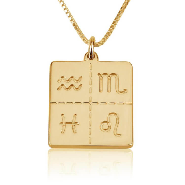 Engraved Zodiac Necklace