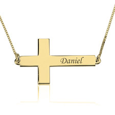 Sideways Personalized Cross Name Necklace