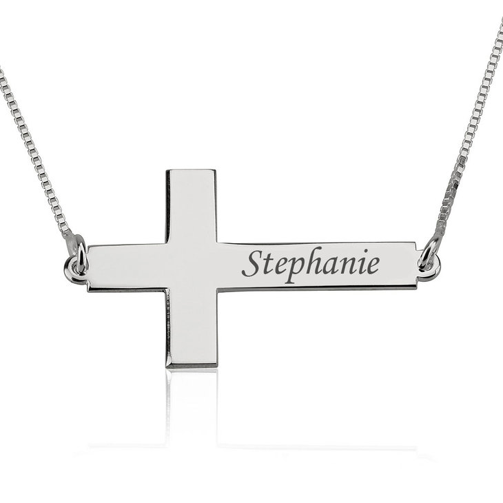 Sideways Cross Name Necklace