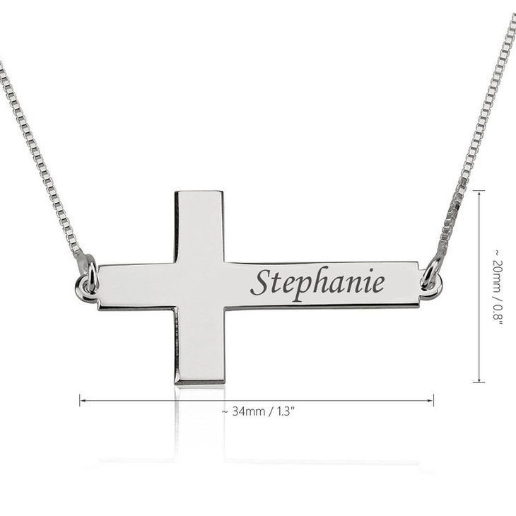 Sideways Personalized Cross Name Necklace - Information