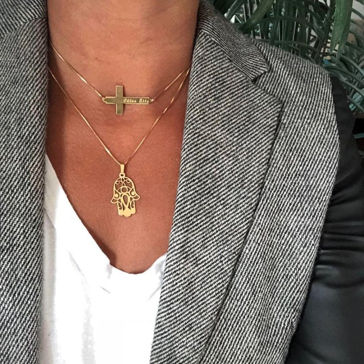 Sideways Personalized Cross Name Necklace - Model