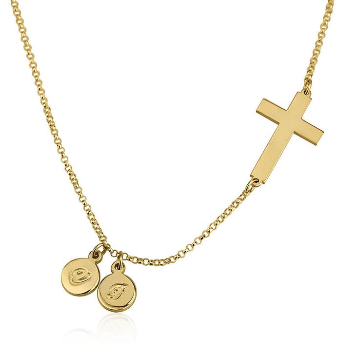 Collier Croix Latérale avec Initiales
