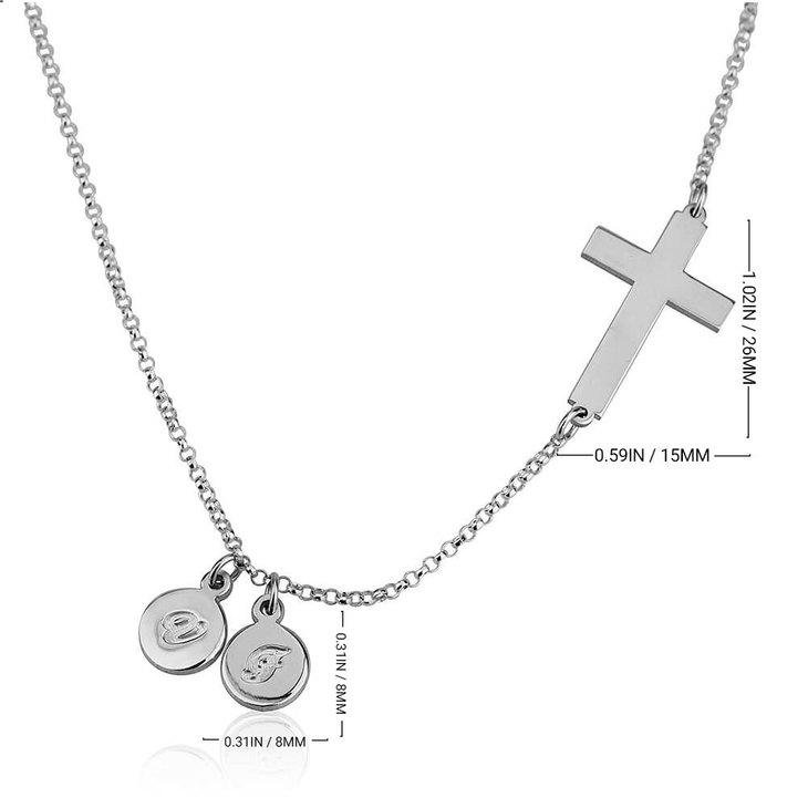 Collier Croix Latérale avec Initiales - Information
