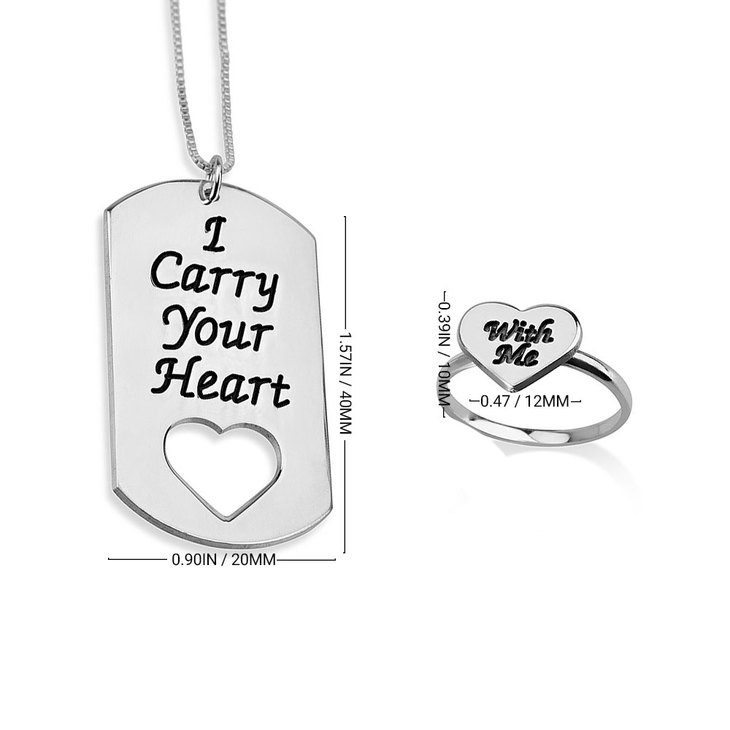 Carry Your Heart with Me Dog Tag and Ring Set - Information