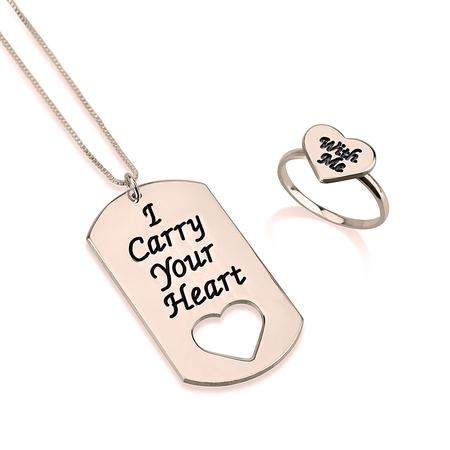 """Conjunto de Collar de Identificación """"Llevo tu corazón conmigo"""" y Anillo"""