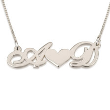 14k White Gold Two Initials with Heart In The Middle