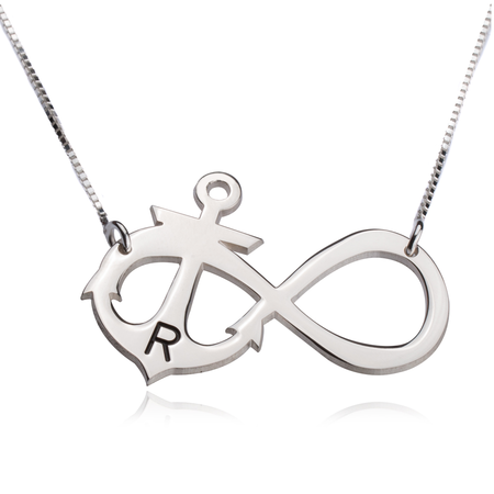 Initial Anchor Infinity Necklace