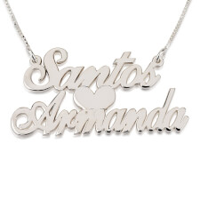 14k White Gold Two Alegro Name Necklaces with Heart