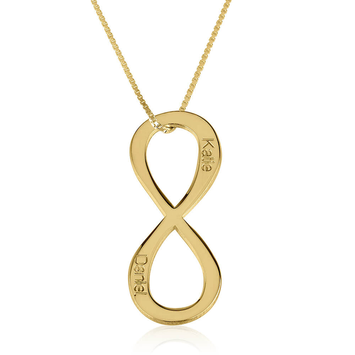 Vertical Two Names Infinity Necklace