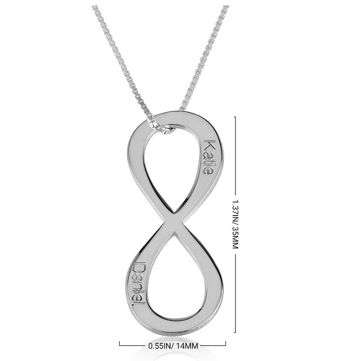 Vertical Two Names Infinity Necklace - Information
