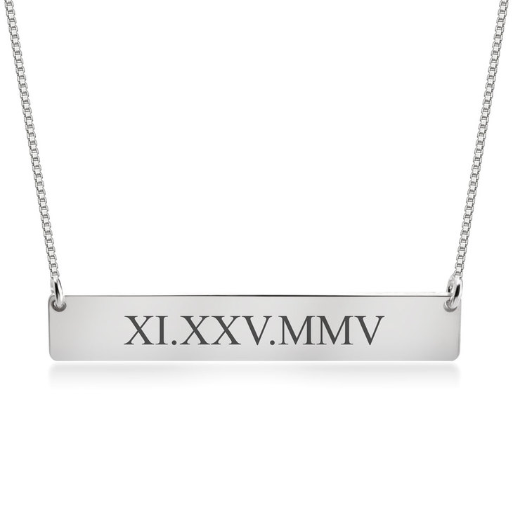 Roman Numeral Date Necklace