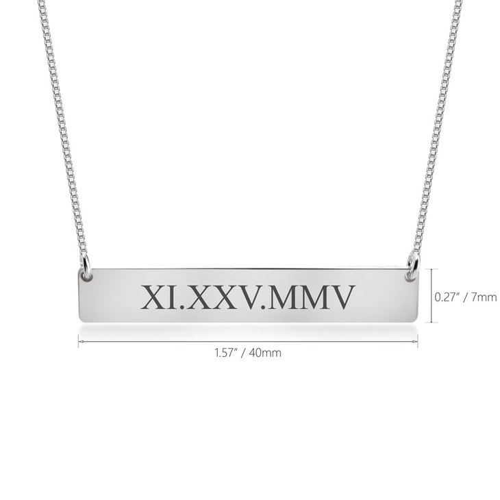 Roman Numeral Date Necklace - Information