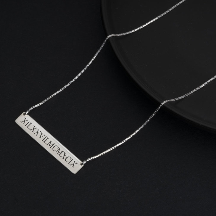 Roman Numeral Date Necklace - Model