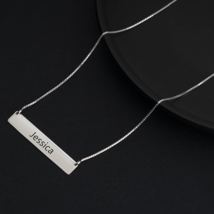 Personalised Bar Necklace - Model