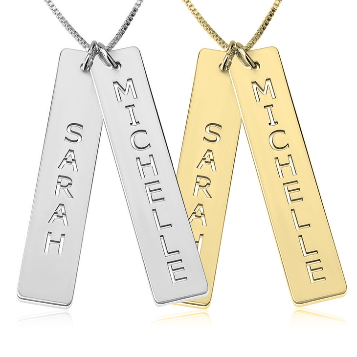 Vertical bar necklace personalized vertical bar necklace mozeypictures Images