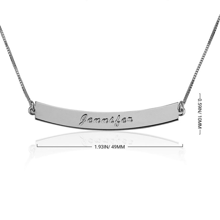 Curved Bar Necklace with Name - Information