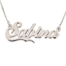 14k White Gold Alegro with Small Line Name Necklace