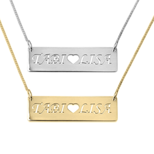 Bar Necklace With Two Cut Out Names