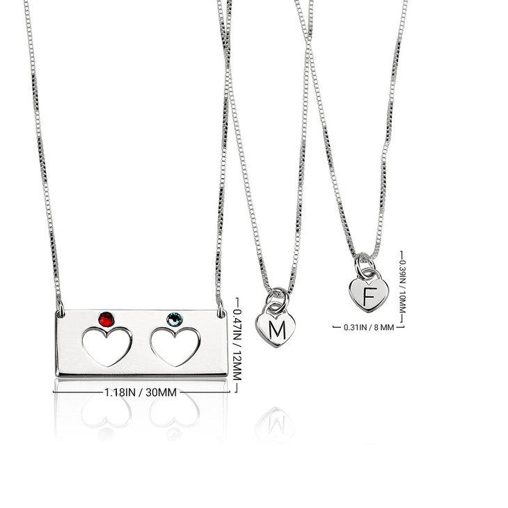 Mother Daughter Birthstone Bar Necklace Set - Information