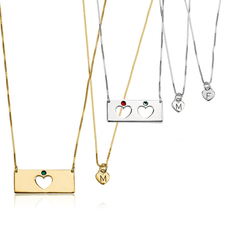 Mother Daughter Birthstone Bar Necklace Set