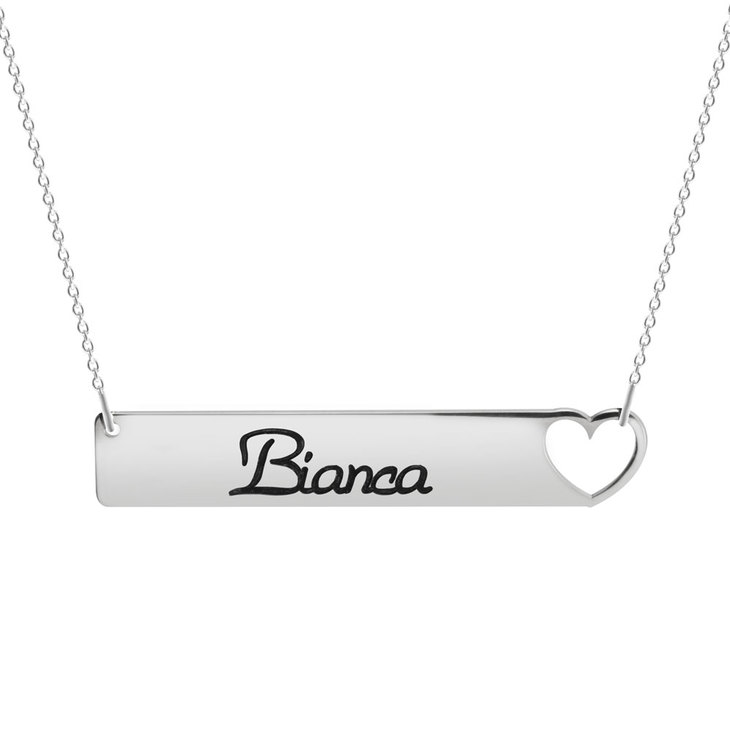 Cut Out Heart Bar Necklace