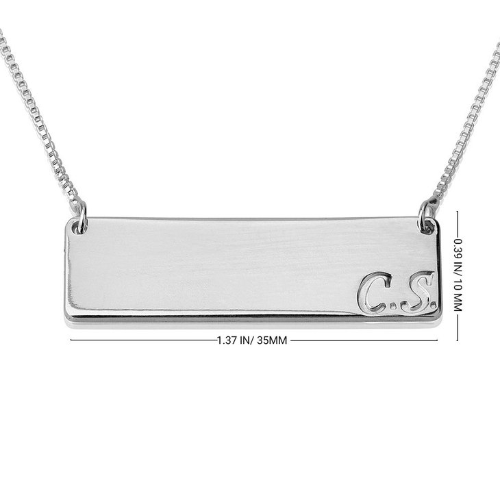 Bar Necklace with Initial - Information