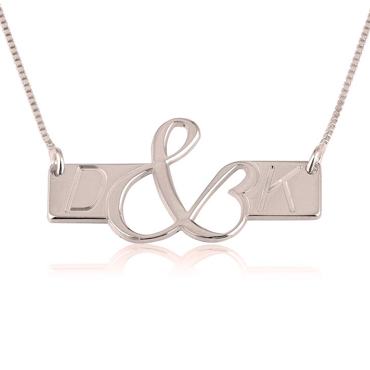 Initials Love Bar Necklace