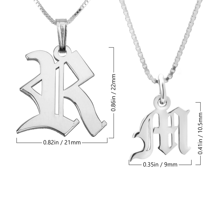 Old English Initial Necklace - Information