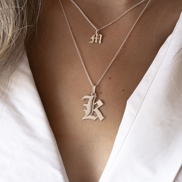 Old English Initial Necklace - Model