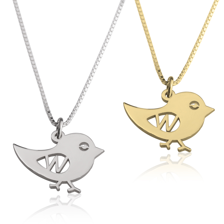 Bird Initial Necklace