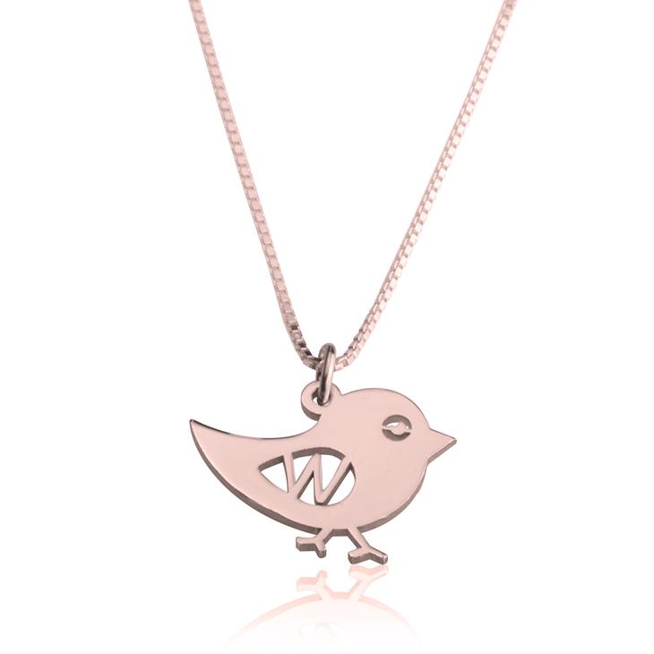 Bird Initial Necklace