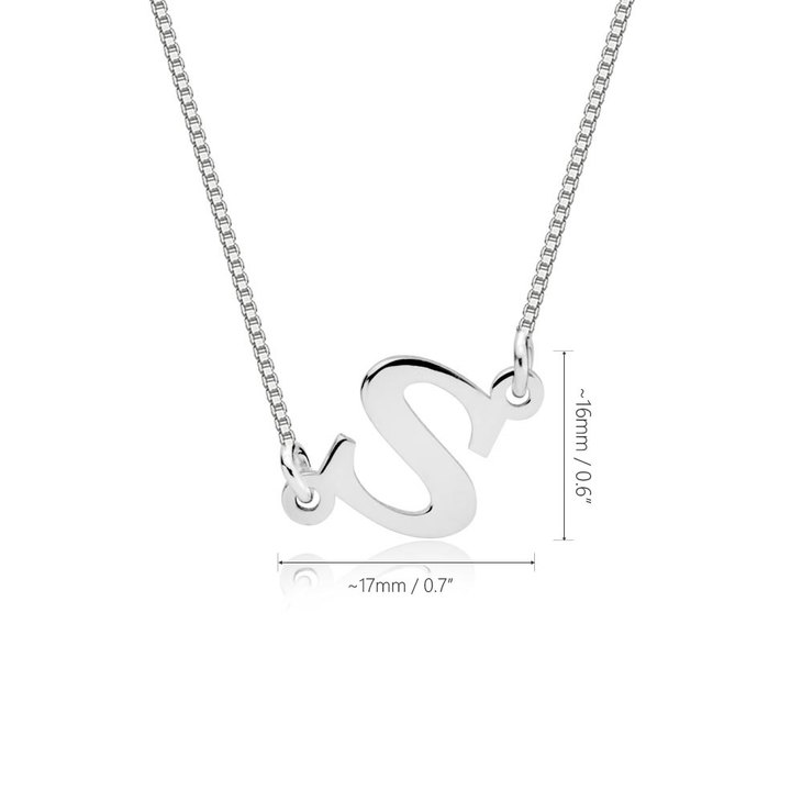 Sideways Initial Necklace - Information