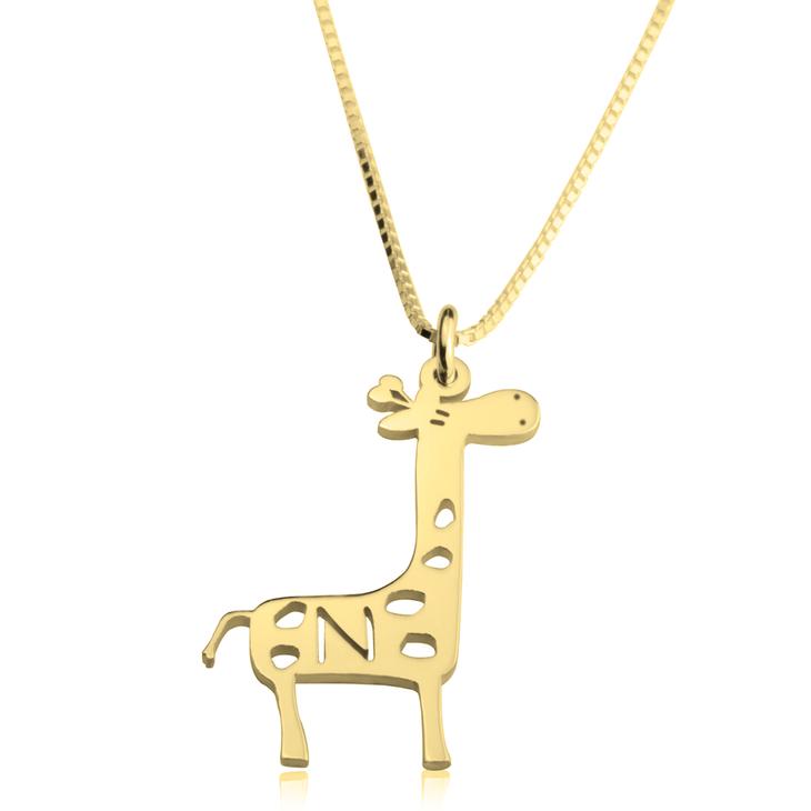 Giraffe Initial Necklace