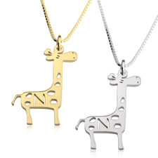 Collier Petite Girafe avec Initiale