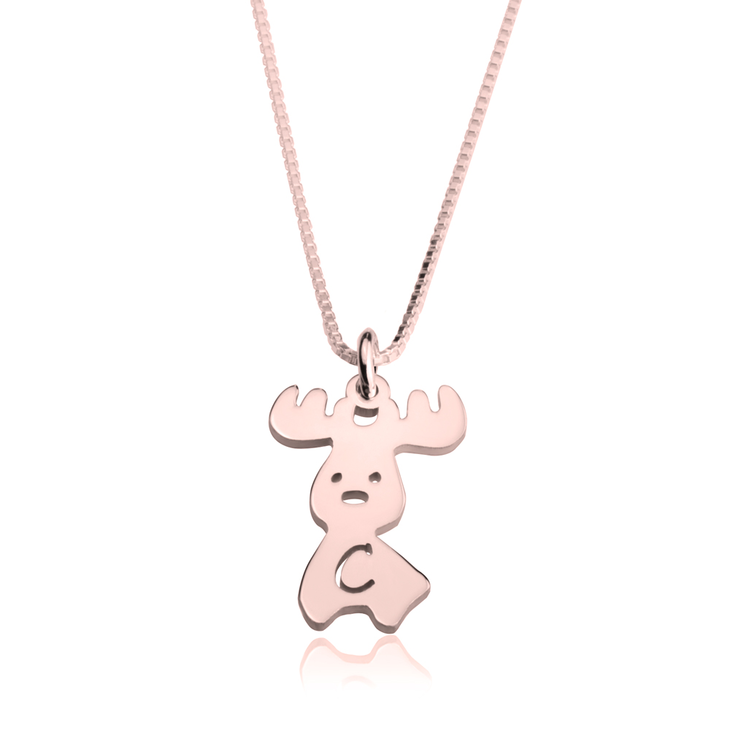 Moose Initial Necklace