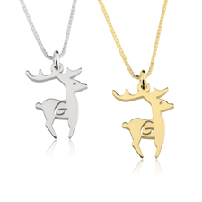 Deer Initial Necklace